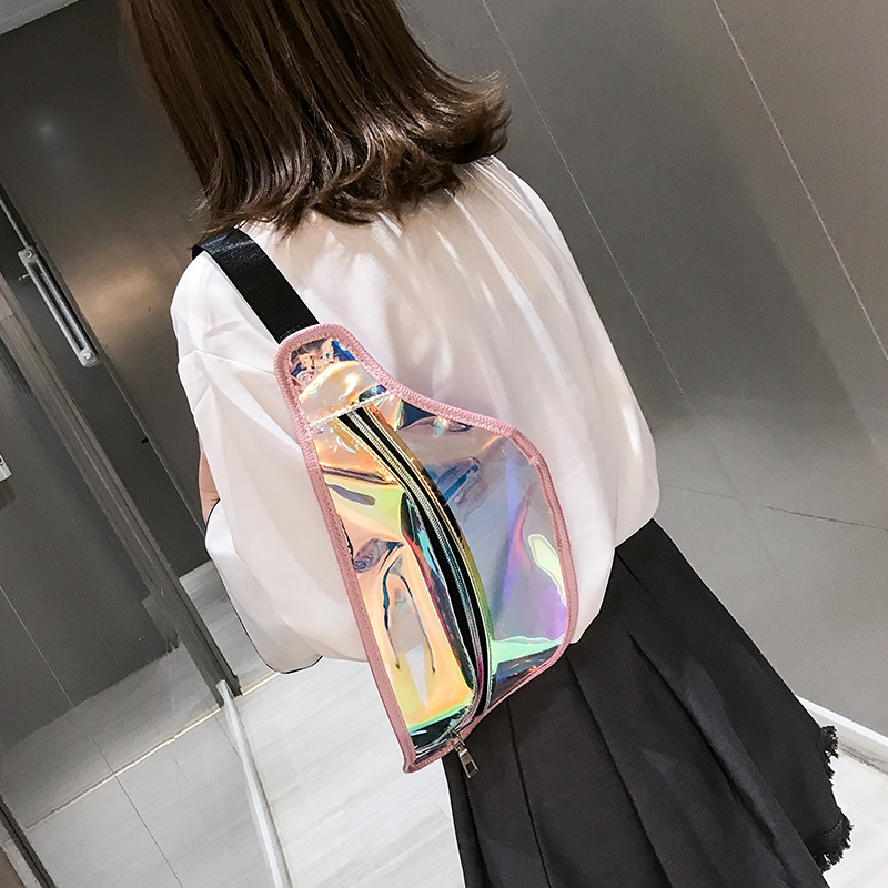 New Girl Transparent Fanny Pack For Women Leather Laser Waist Bags Female Belt Bag Travel Shoulder Bag Chest Phone Pouch
