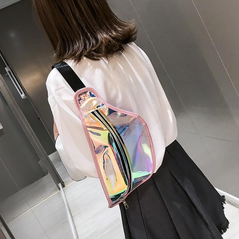 New Girl Transparent Fanny Pack For Women Leather Laser Waist Bags Female Belt Bag Travel Shoulder Bag Chest Phone Pouch