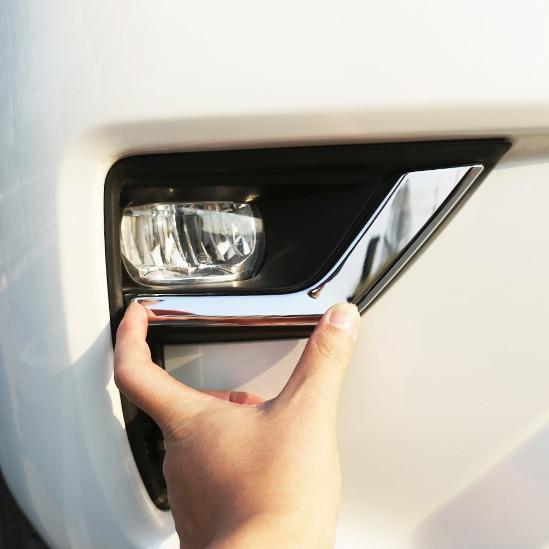 Car Chrome Front Fog Lamp Cover Trims For Toyota Land Cruiser Prado 150  FJ150 2018 2019 Accessories