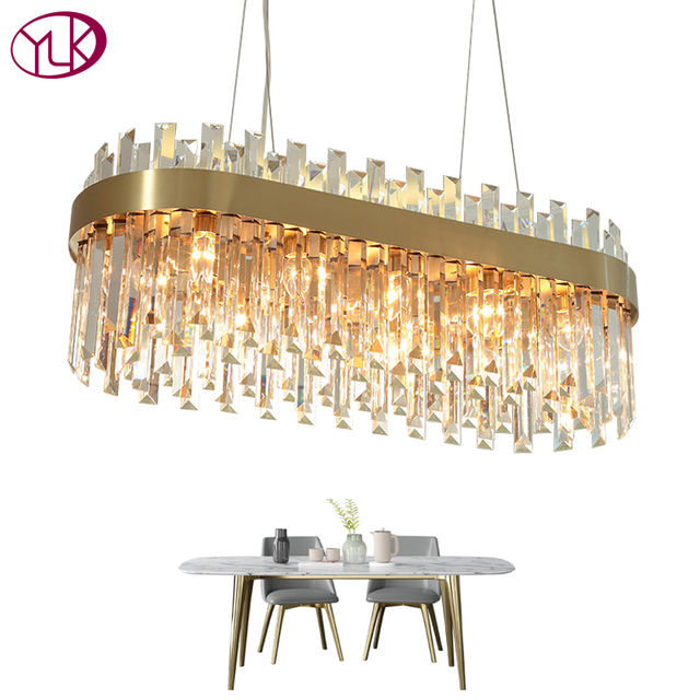 Youlaike Luxury Gold Chandelier Lighting Dining Room Suspension Crystal Lamp Kitchen Island LED Cristal Lustres AC110-240V Light