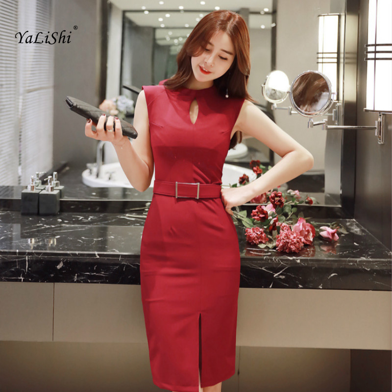 2018 Women Solid Pencil Dress Summer Red Black Sleeveless O-neck Knee-length Casual Office Lady Dress Elegant Party Dress Ladies