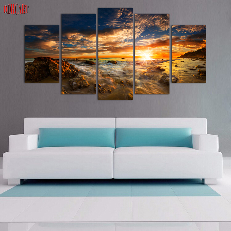 die wellen leinwand malerei 5 st cke sonnenuntergang seaview moderne home decor leinwand bild. Black Bedroom Furniture Sets. Home Design Ideas