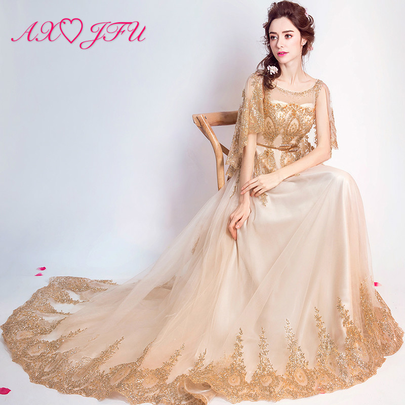 AXJFU golden lace flower   evening     dress   princess vintage dubai beading Gold powder diamond long   evening     dress   5919