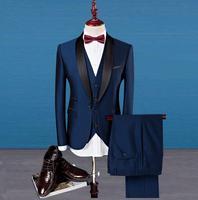 silm fit Best man suit Groom Tuxedos prom Business Wine red royal blue Wedding dresses Suits Men host Blazer Set jacket pant ve