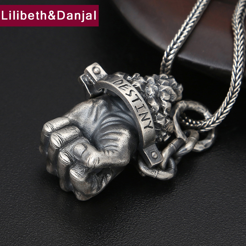 Christmas Gift Pendant 100% Real 925 Sterling silver Jewelry Accessories Men Women Punk Hercules fist Necklace Pendant 2018 P72