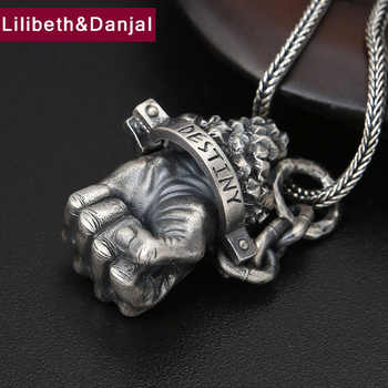 Christmas Gift Pendant 100% Real 925 Sterling silver Jewelry Accessories Men Women Punk Hercules fist Necklace Pendant 2018 P72 - DISCOUNT ITEM  40% OFF All Category