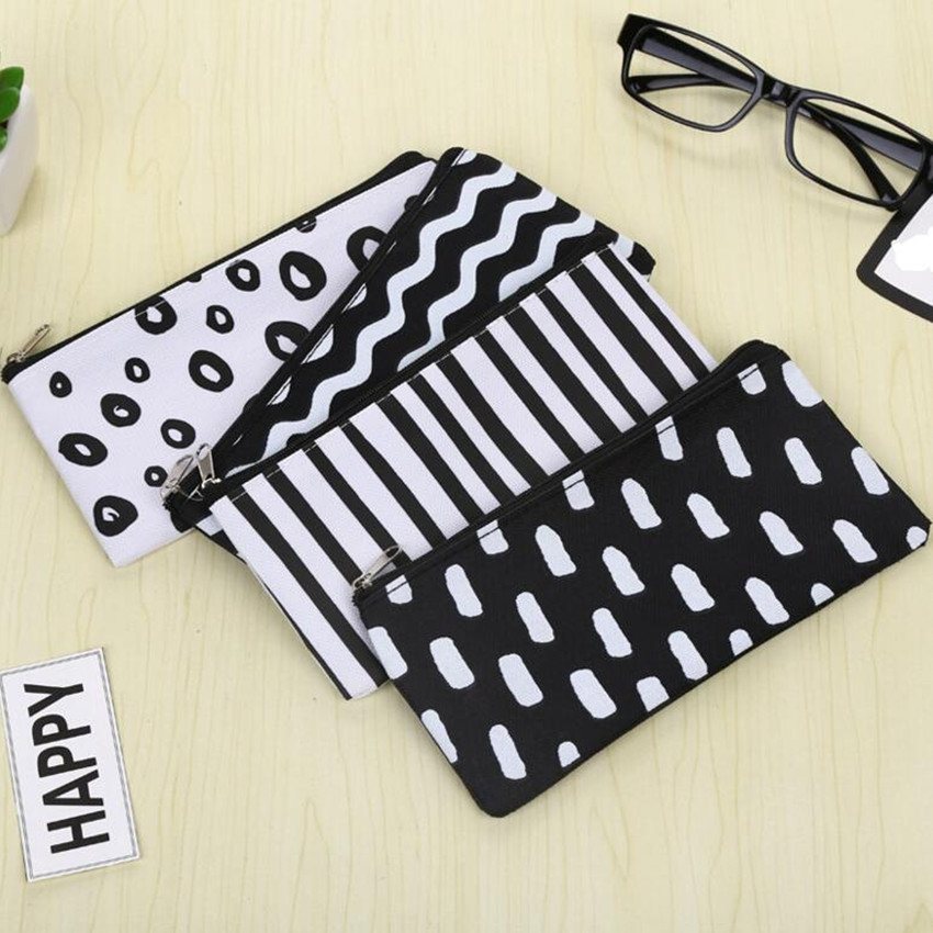 M204 Creative Women Purses Small Fresh Wave Vertical Stripe Pencil Bag Creative Dot Style Bag
