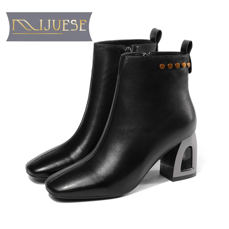 MLJUESE 2019 women ankle boots soft cow leather rivets zippers black color high heels boots winter short plush boots size 34-41MLJUESE 2019 women ankle boots soft cow leather rivets zippers black color high heels boots winter short plush boots size 34-41