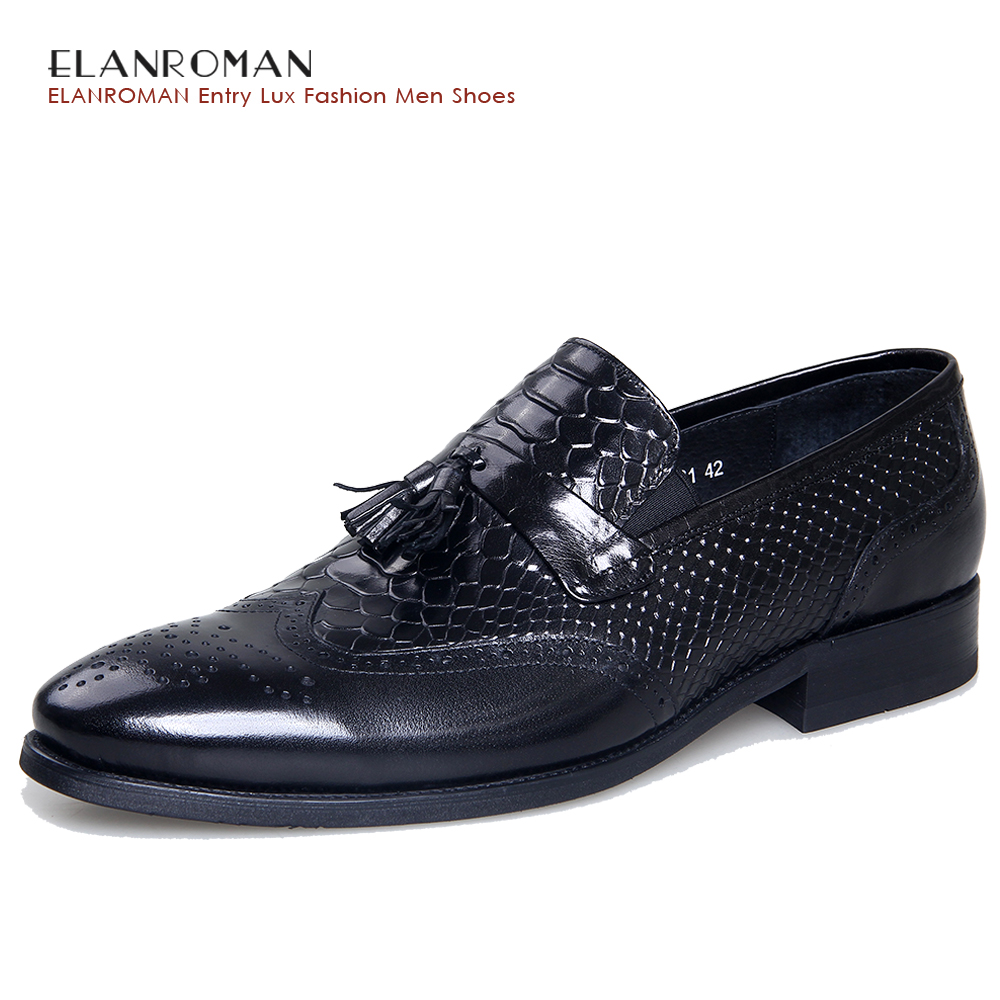 ELANROMAN Black Cow Leather Tassels Loafers Shoes luxury Men s Business genuine leather Occasion Male Formal