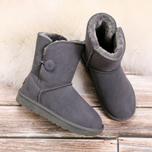 Women Genuine Leather Australia Classic 100% Wool Snow boots Women Boots Warm Winter shoes for women Middle boot Winter Boots classic natural sheepskin snow boots middle calf natural wool sheep fur button boot winter flat genuine leather snow boots
