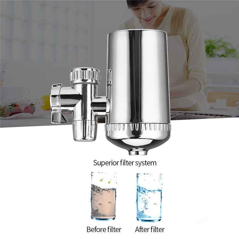 Diatom Ceramic Tap Water Filter Kitchen Faucet Water Filter Stainless Steel Tap Water Purifier Reduce Chlorine Odor Contaminants