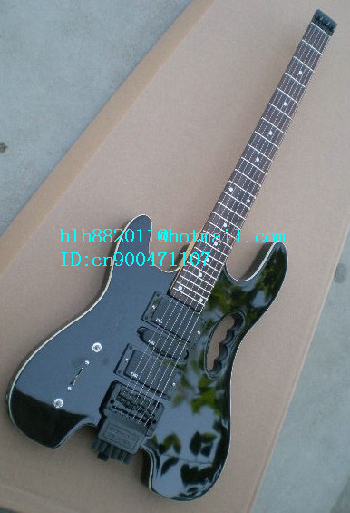new left-hand headless electric guitar in black with mahogany body+EMS free shipping+foam box LL-42 2