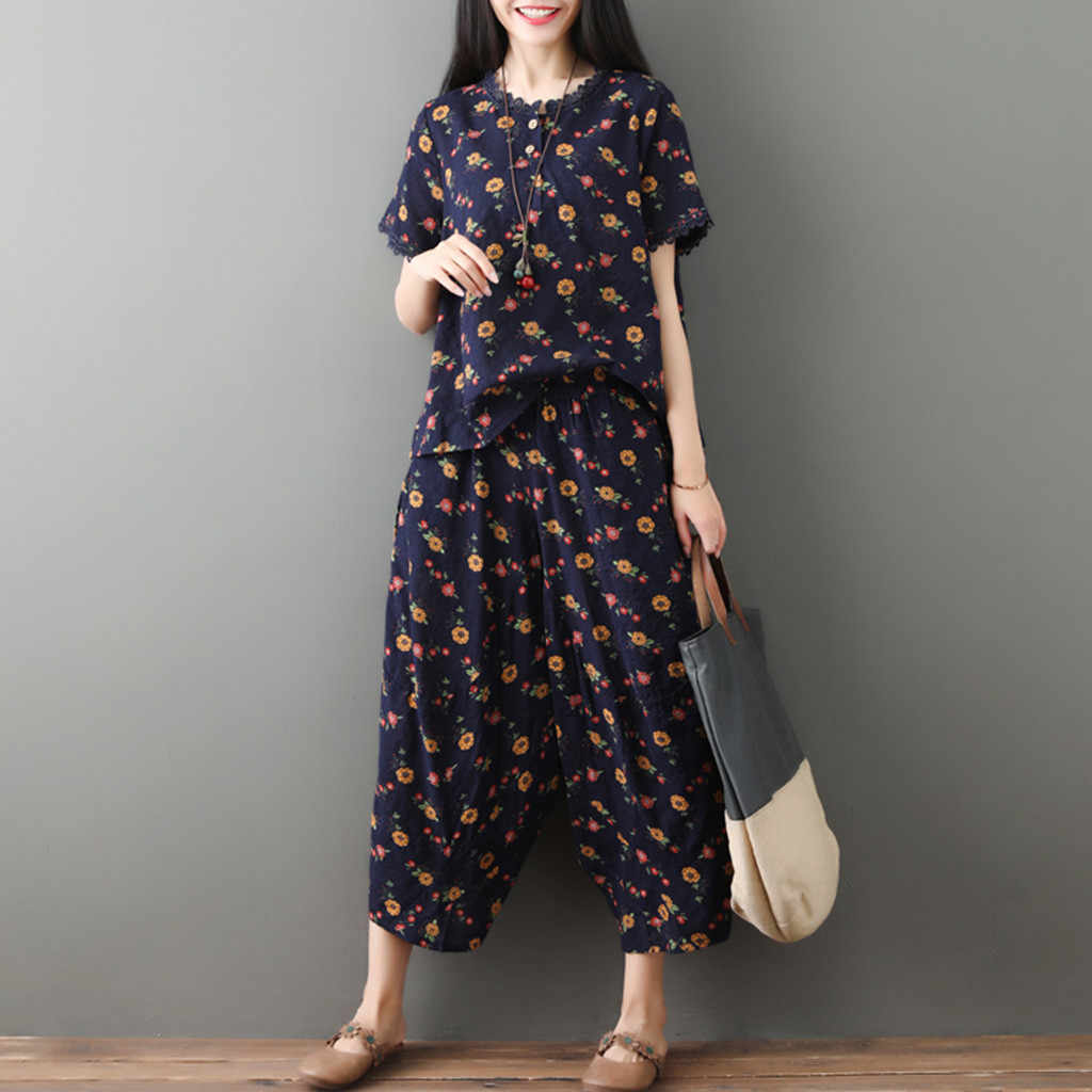 JAYCOSIN 2019 New Summer Women Suit Cotton Vintage Harajuku Flowers Print Short Sleeve Tops Mid-Calf Pants Home Set 9May1225