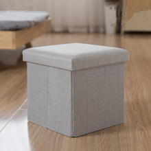 Cotton Linen Plywood Inside Ottoman Footstool Storage Box Books Clothing Storage Case(China)