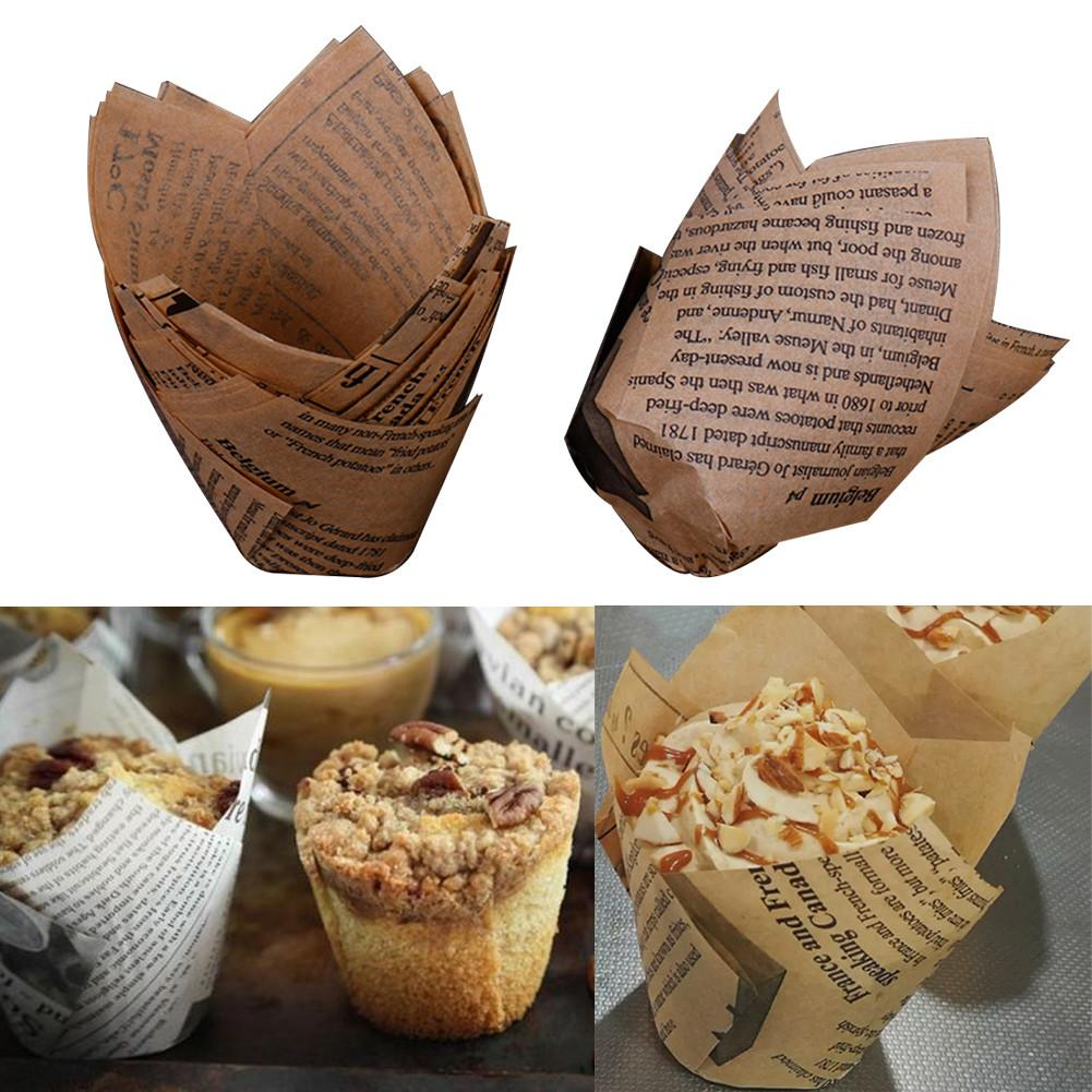 50 Pcs Newspaper Style Baking Paper Cups Christmas Tulip Grease-proof Non-sticky Cake Paper Baking Cups Muffin Wraps Cases