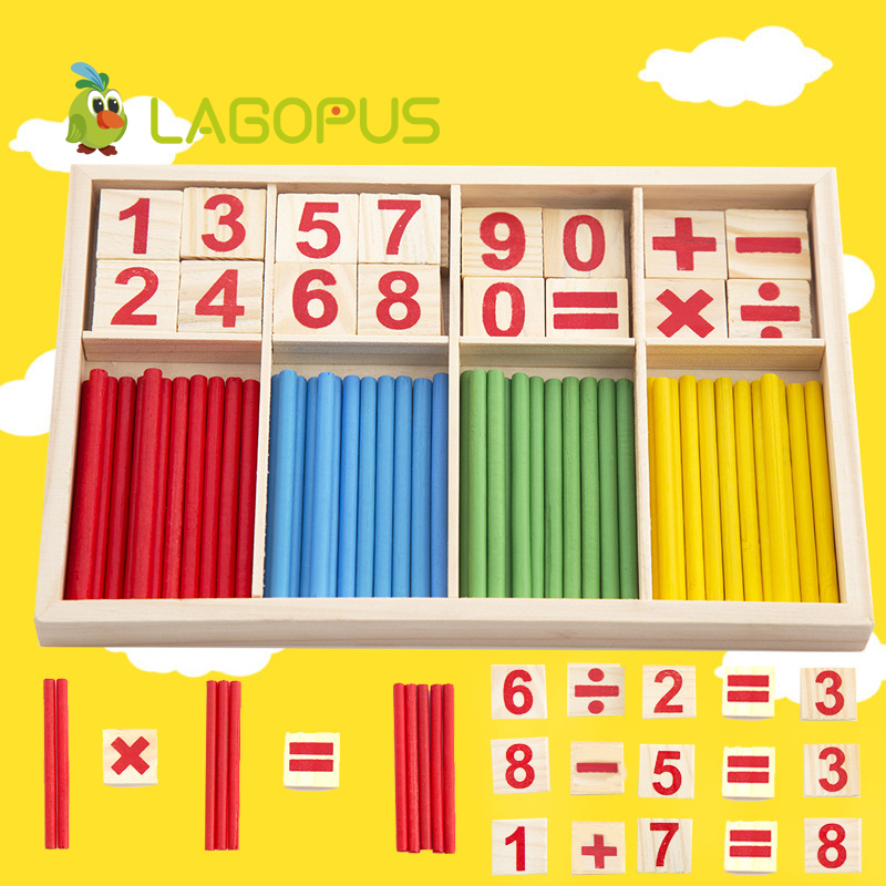 Montessori Math Toy Wooden Number Math Game Sticks Educational Toy Puzzle Kids Learning Teaching Aids Set