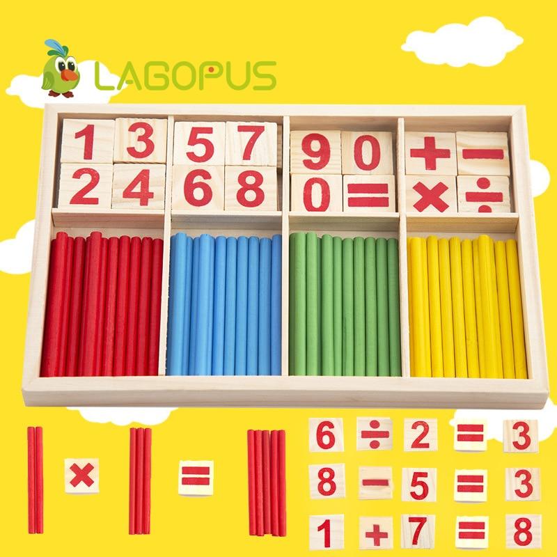 Montessori matemáticas juguete Número de madera juego de matemáticas Palos juguete educativo puzzle Kids Learning enseñanza niño regalo de cumpleaños