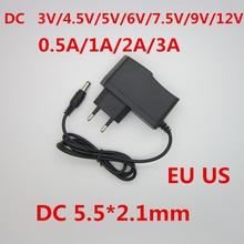1 шт. 100-240 В AC к DC Мощность адаптер для Зарядное устройство 3 В 4,5 В 5 В 6 В 7,5 В 9V 12V 0.5A 1A 2A 3A ЕС США plug 5,5 мм x 2,1 мм