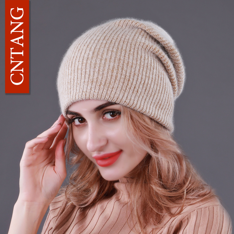 CNTANG 2018 Winter Warm Rabbit hair Knitted Hats For Women Double layer Autumn Fashion Caps Female Hat With   Skullies     Beanies