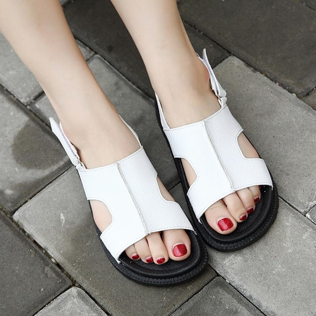 Fashion Women Sandals Casual Shoes PU Leather Flat Summer Open Toe Flip Flops