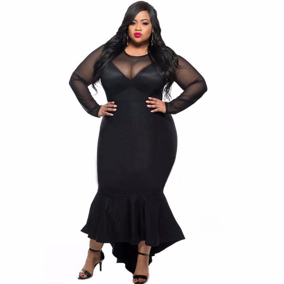 Black-Sheer-Mesh-Splice-Curvy-Mermaid-Dress-LC61086-2-1