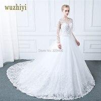 WUZHIYI Vestidos De Noiva Long Sleeves Wedding Dress Appliques Lace Pearls Wedding Dresses Sexy Matrimonio Vestido