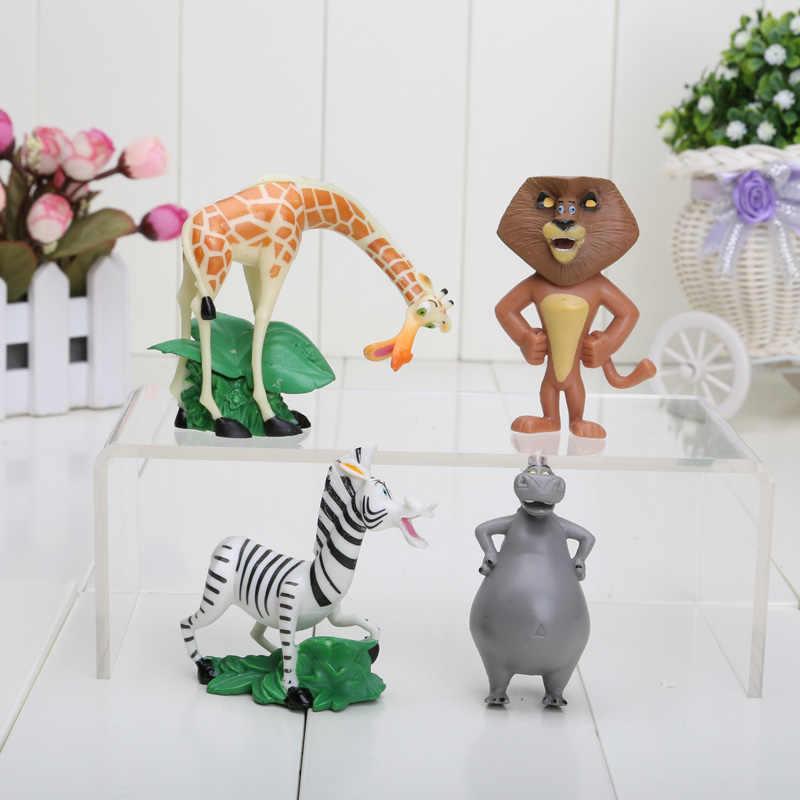 4pcs Madagascar Brinquedos Modelo Dolls Animal Zoo Leão Zebra Girafa Anime Figuras de Coleta de Brinquedos Infantis Presentes de Coco Do Bolo