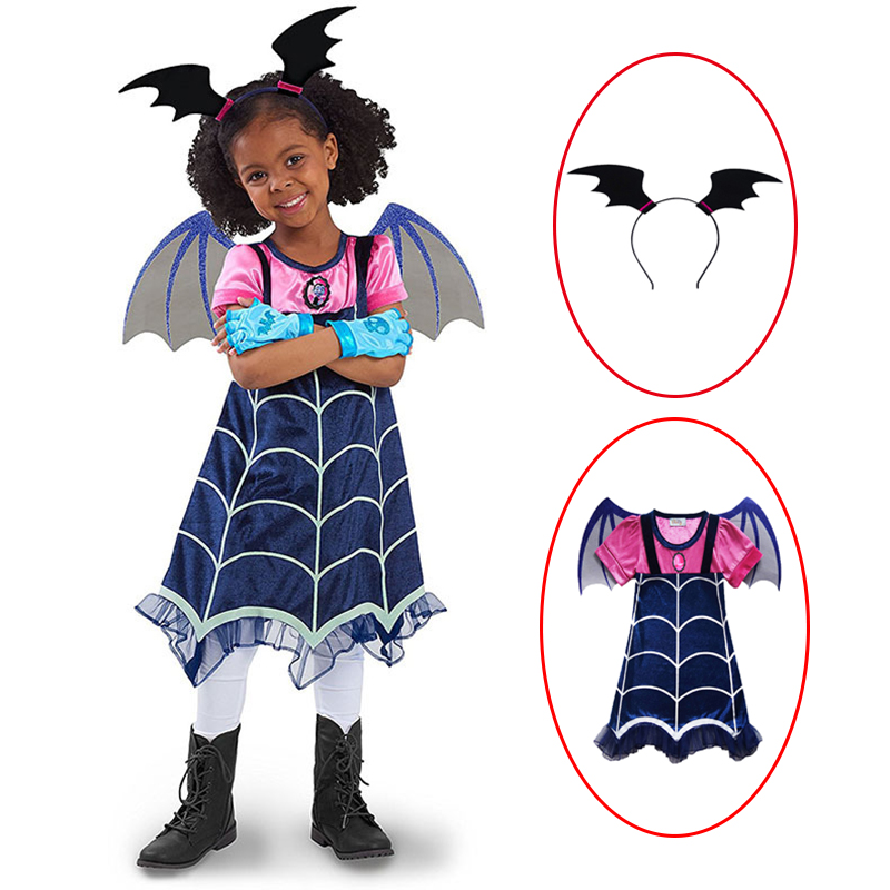 3pcs/set New Vampirina Cosplay Costumes Girls Kids Fancy Halloween Cosplay Party Dress Streetwear Clothes Dresses+Hair hoop