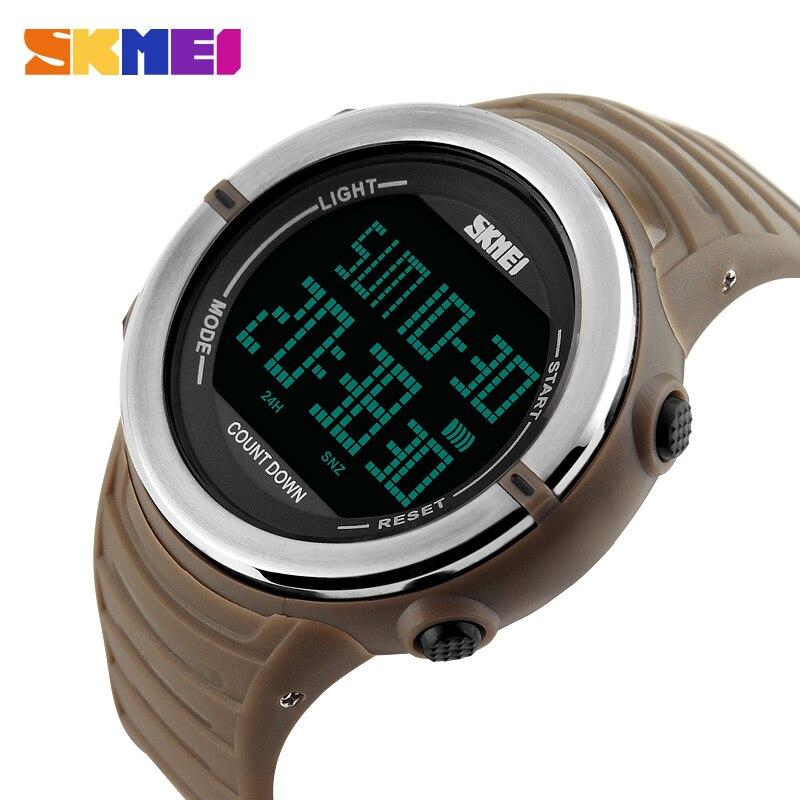 SKMEI Dual Time Digital Watch Men Countdown Sports Watches Man Top Fashion Army Green Military LED Electronic Wristwatch
