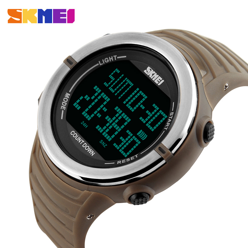 SKMEI Dual Time Digital Watch Men Countdown Sports Watches Man Top Fashion Army Green Military LED Electronic Wristwatch