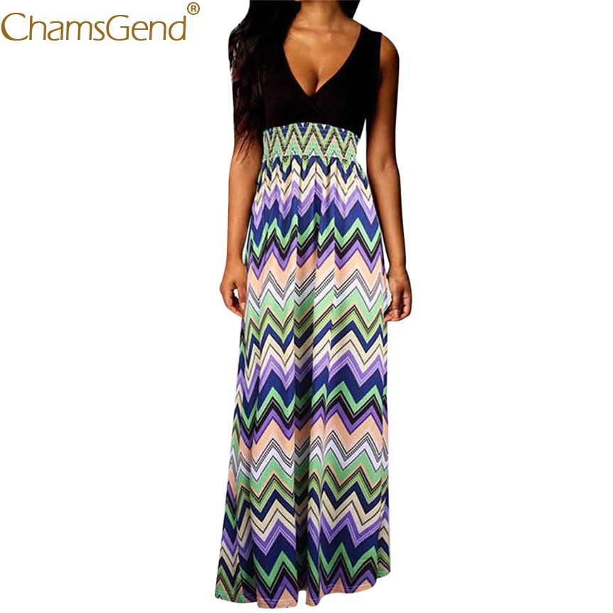 Women Bohemia Style Sexy V Neck Sleeveless Maxi Long Beach Dress 80417