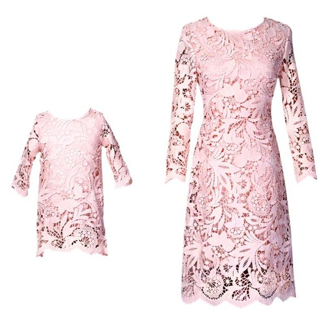 2aa0108c06 US $65.55 5% OFF|Mother Daughter Dresses Mommy Girl Lace Flower Matching  Twinning Party Dress Family Look Outfits Girl Mom Clothes JN538-in Matching  ...