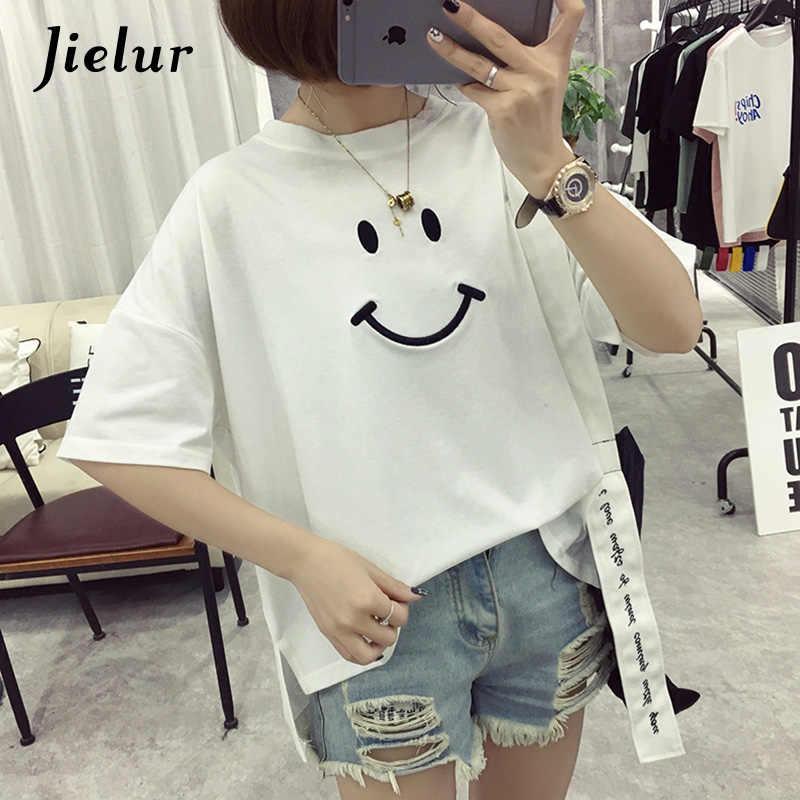 Jielur 5 цветов в Корейском стиле вышивка улыбка Футболка женская простая повседневная Camisetas Feminina White белая футболка Harajuku Прямая поставка