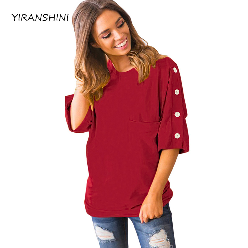 2018 neue Kommen Frauen Sommer Top Casual Frauen Halbe Hülse T-shirts Fashion Solid Roten Taste up Shift Top mit Tasche LC250067