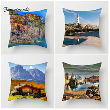 Fuwatacchi Architectural Scenic Cushion Cover Lighthouse Chalet Castle Pillow Cove Decorative Chair Home Decoration Accessories