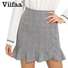 c2d0a541175a36 Viifaa Grey Bodycon Ruffle Hem Plaid Short Skirt High Waist Office Lady  Skirts Womens Short Pencil