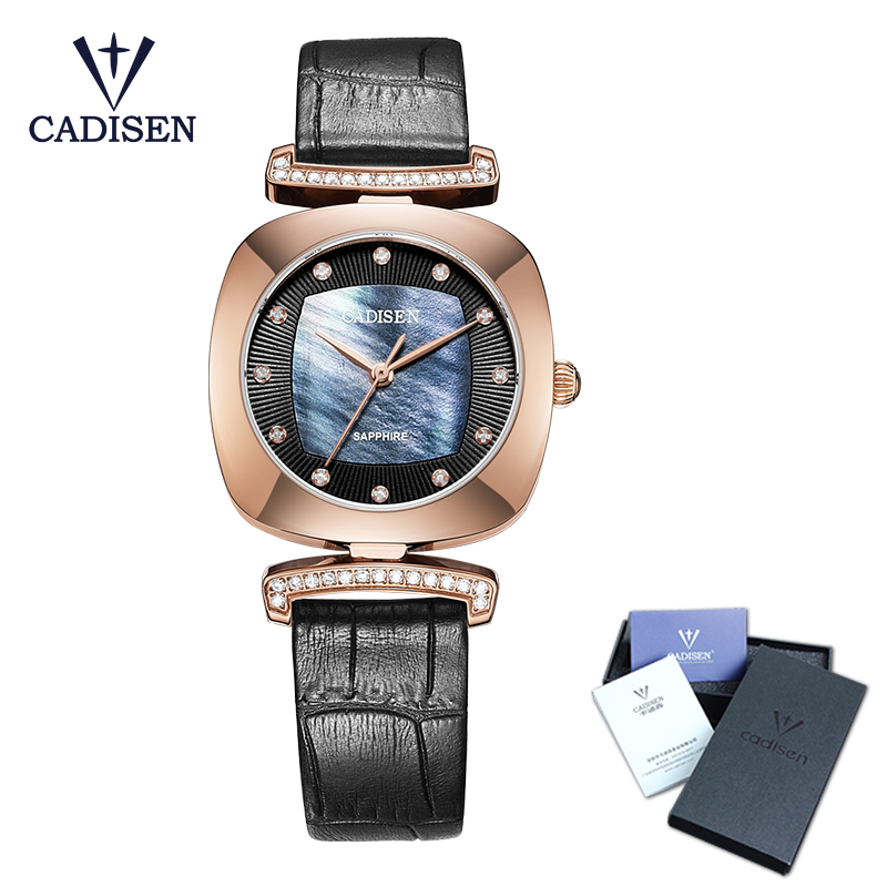 CADISEN 2018 Fashion Luxury Women Watches Rhinestone Marble Dial Leather band Montre Femme Dress Watch Female Casual Reloj Mujer gaiety men s casual stripe dial leather band dress watch g538