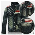 Mens Jackets And Coats Fashion Flag Spliced Retro Jeans Jacket Casual Slim Outwear Clothing