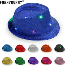 FUNNBUNNY 2PCS DB LED Flashlight Fedora hat Unisex Colorful Suitable for Party and Club Light up The Night(China)