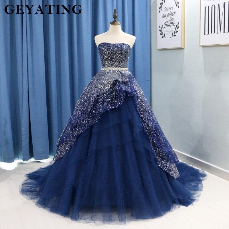 Éclat Bleu Marine Quinceanera Robes pour 15 ans Bretelles Puffy Tulle robe de Bal Robes De 15 Anos Longues Doux 16 robes