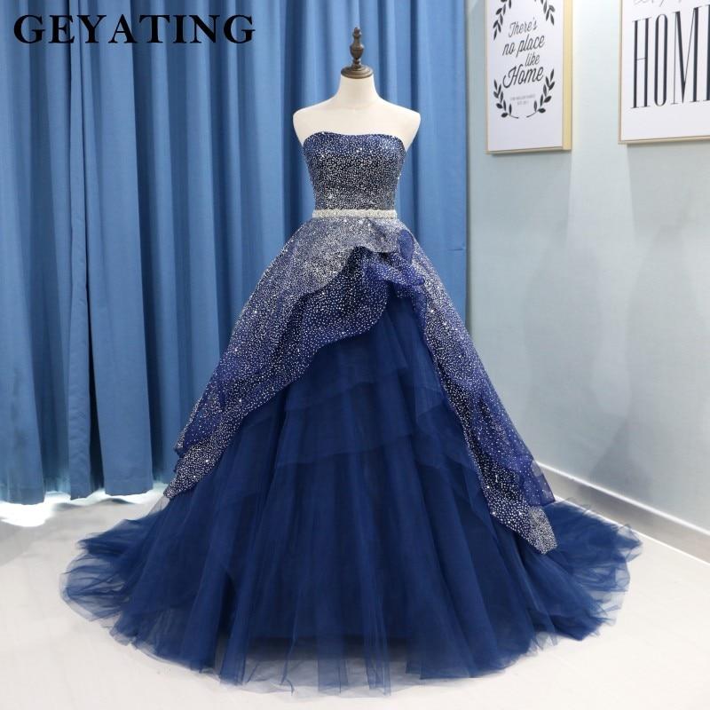 e7e95309bc2 Сверкают флот голубое праздничное платье светится в течение 15 лет пышный без  бретелей тюль бальное платье