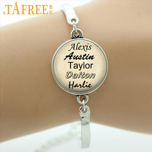 TAFREE Personalized jewelry custom your family names bracelet gift for family friend Glass Cabochon Photo three colors NA01(China)