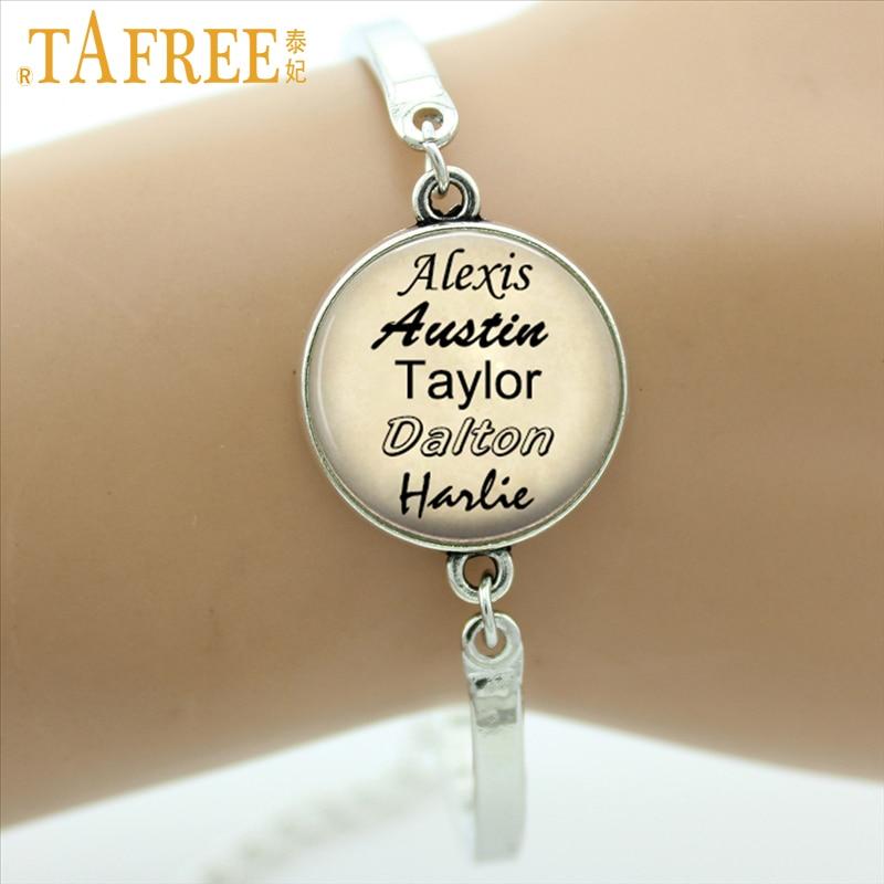 Tafree personalizado jóias personalizado seus nomes de família pulseira de presente para a família amigo de vidro cabochão foto três cores NA01