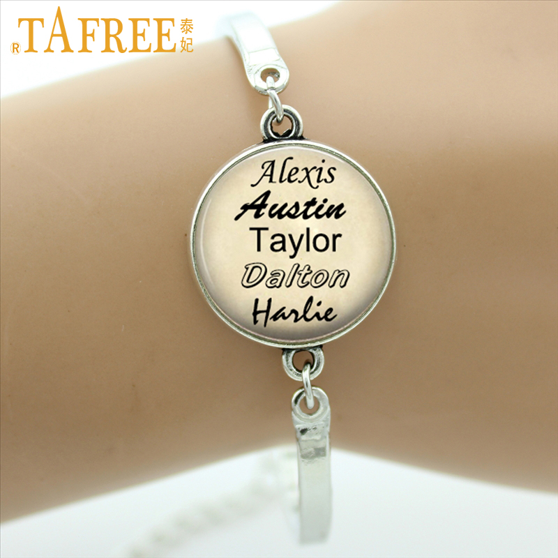 TAFREE Personalized jewelry custom your family names bracelet gift for family friend Glass Cabochon Photo