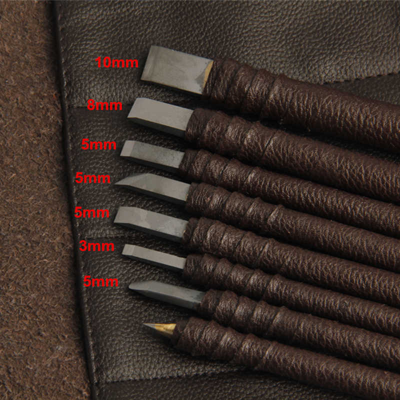 8 Pcs Carved Stone Knife Tungsten Carbide Steel Carving Knife Chisel Craft  Tools For Seal Engraving Stone Lettering