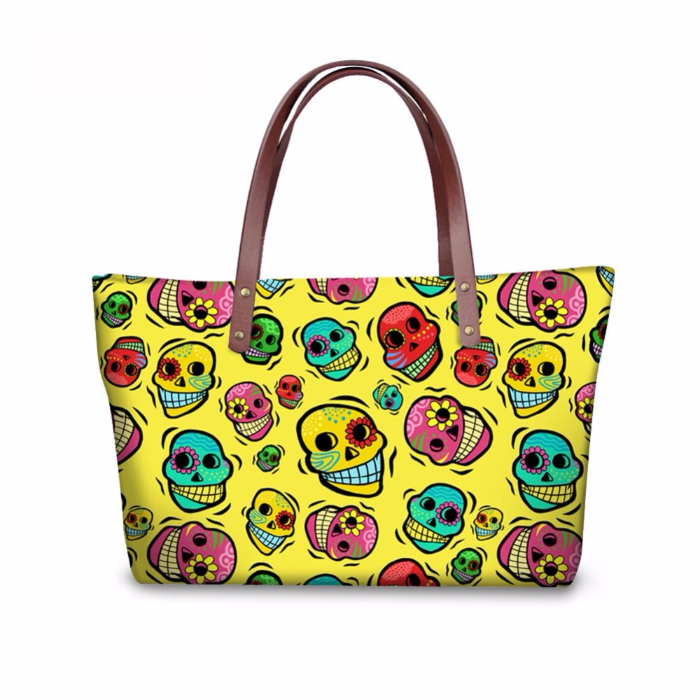 Noisydesigns Skull colorful Designer Waterproof women handbags Ladies Shoulder Bags Girls Shopping Tote Waterproof Travel Bags