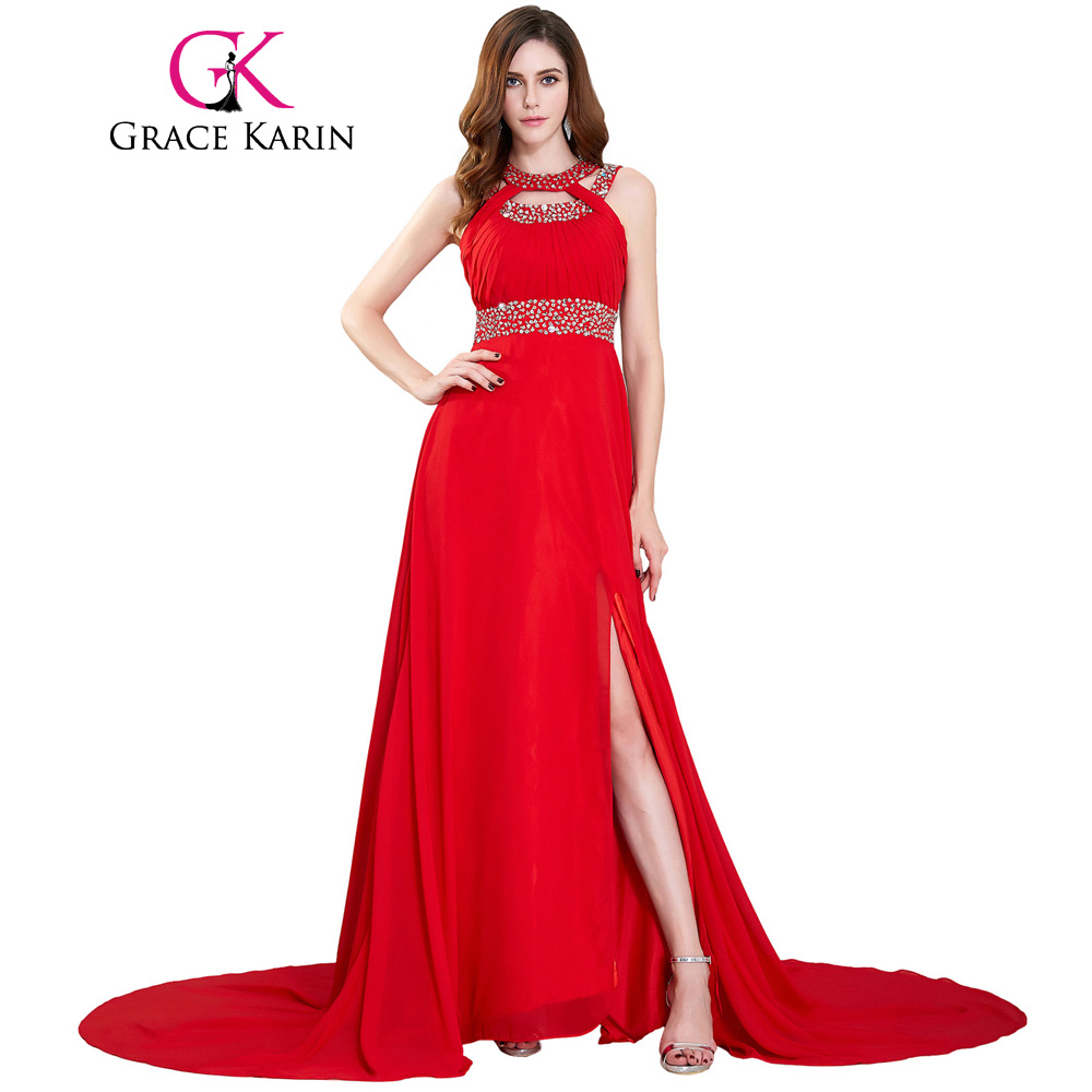 Grace Karin Long Red Evening Dresses 2017 Formal Evening Gowns ...