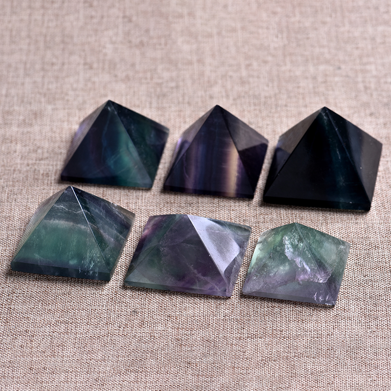 1PC natural fluorite pyramid crystal point healing crystal natural stone mineral gift home study decoration free shipping(China)