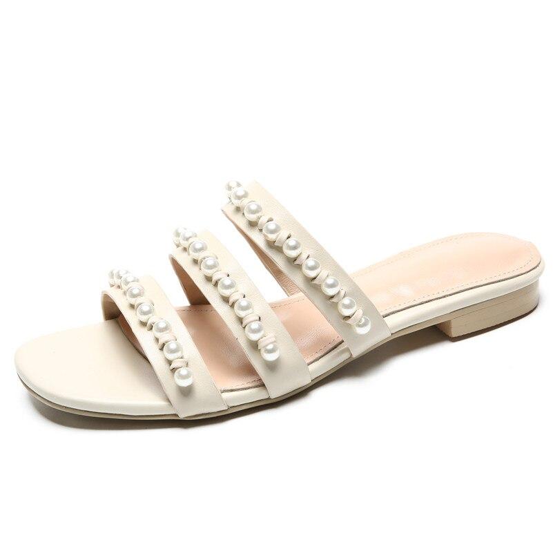FEDONAS 2019 lato nowa klasyczna moda słodkie kobiety sandały z naturalnej skóry perła dekoracji wysokie obcasy stałe buty w stylu casual kobieta w Niskie obcasy od Buty na  Grupa 2