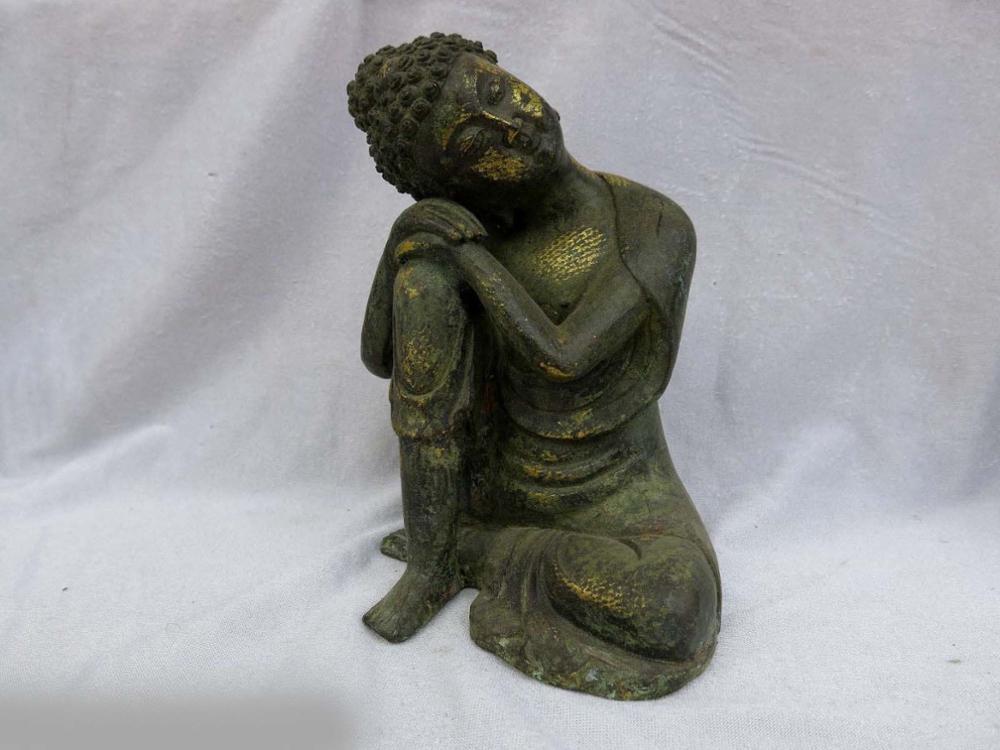 DS China Old Bronze Gild Carved Sculpture Fine Buddhism Contemplator Buddha Statue